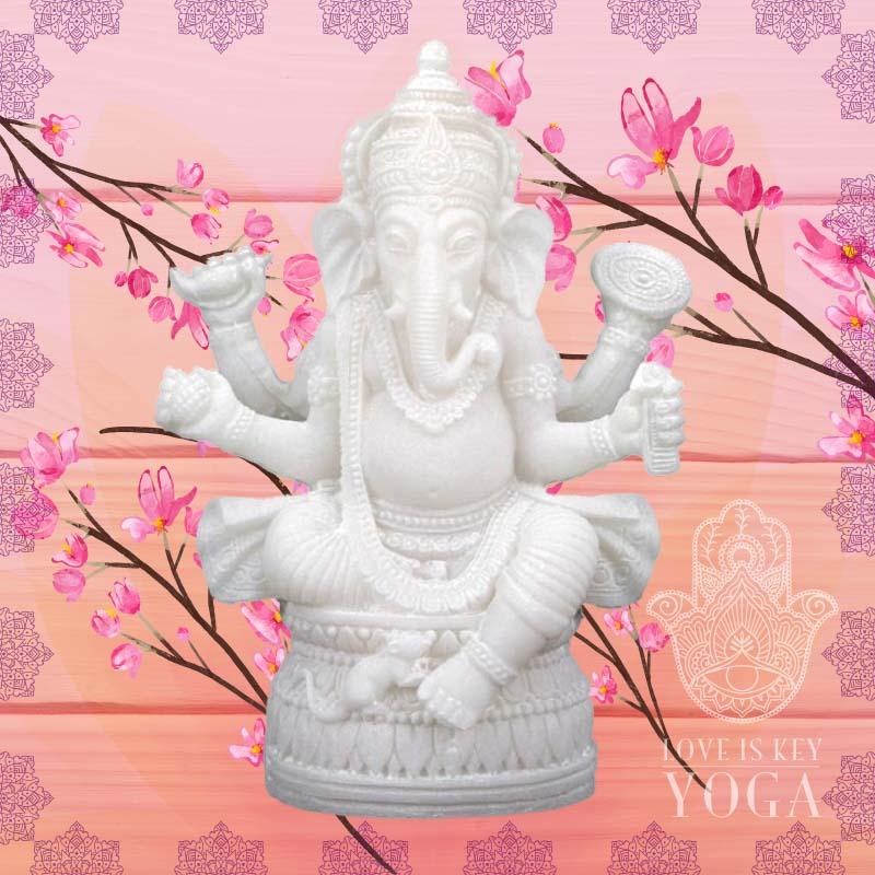 Ganesha aus Alabaster und Polyresin 17cm