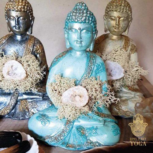 Buddha Aqua Gold Bergkristall 1