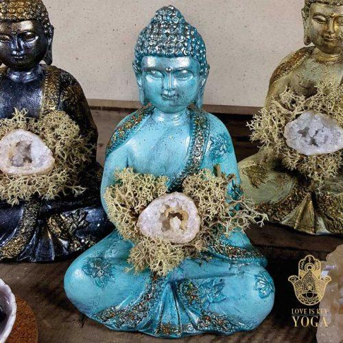 Buddha Aqua Gold Bergkristall