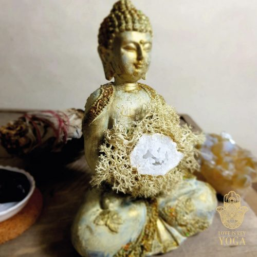 Buddha Creme Gold Bergkristall 2