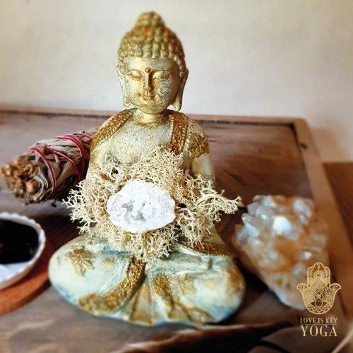 Buddha Creme Gold Bergkristall