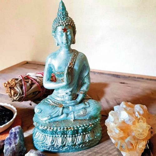 Sitzender Buddha Aqua 1